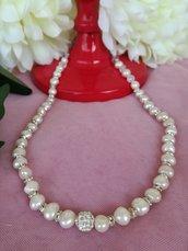 Collana Perle di Fiume Bianche vere, strass e cristalli