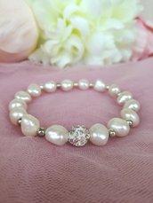 Bracciale Perle Fiume Bianche elastico e Acciaio Inox