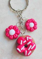 ciambella donut portachiavi + charm fiori
