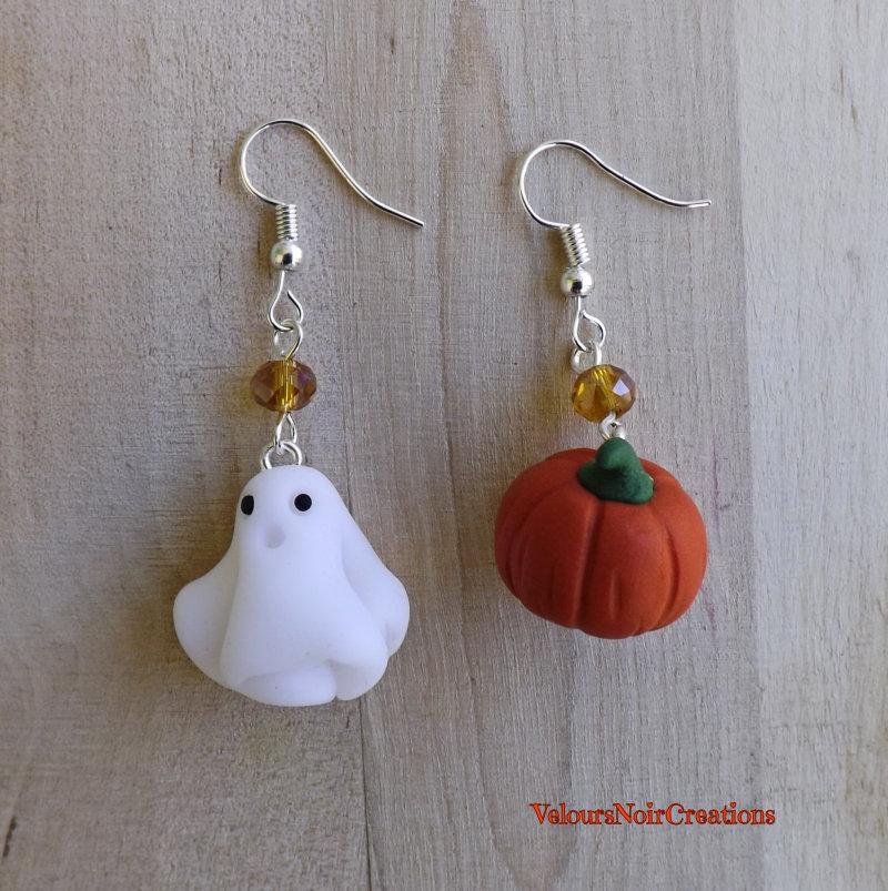 Orecchini fantasma e zucca in fimo halloween