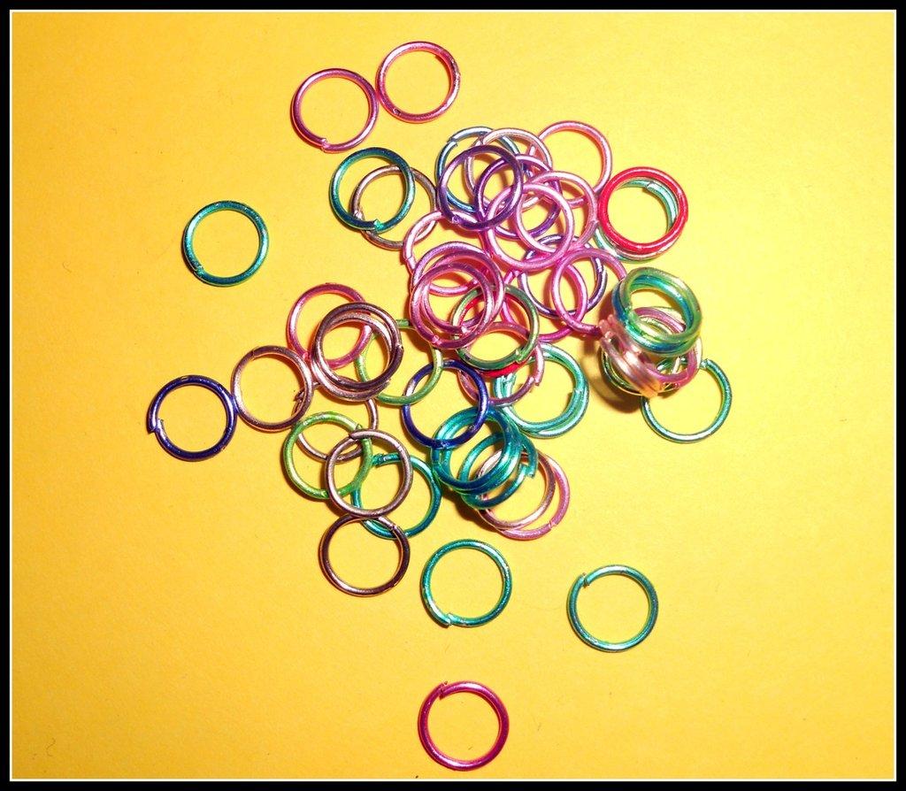 50 anellini (jump ring) colorati