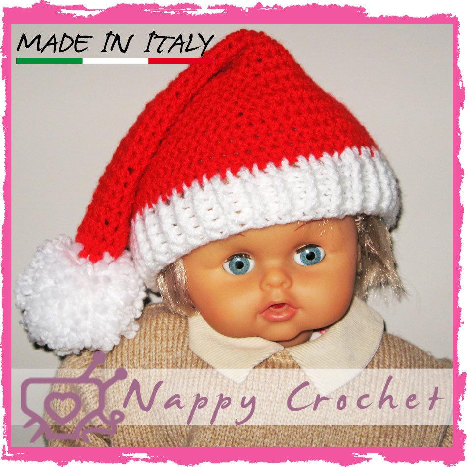 Cappellino 0 12 Mesi Babbo Natale Bimbo Bimba Ad Uncinetto Con Ponp