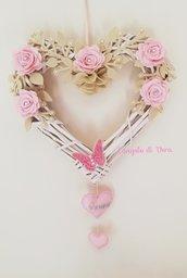 Fiocco nascita cuore shabby con rose