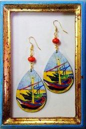 """Orecchini """"Barche di Pescatori - Van Gogh"""""""