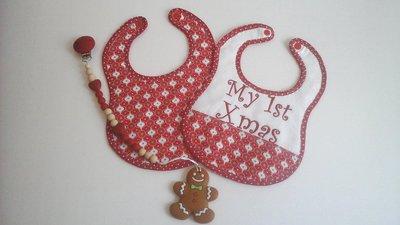 """Set """"My 1st Xmas"""", bavaglino e portaciuccio natalizi per bimba"""