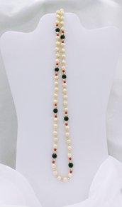 """Collana lunga con perle vintage (1968) di majorca e cristallo """"Perlintage"""""""