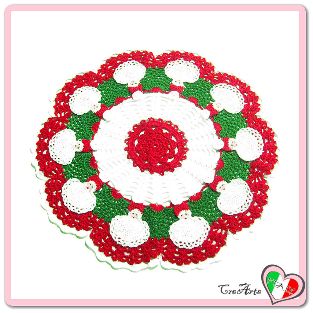Centrino Rosso Verde E Bianco Con Babbo Natale Alluncinetto Fest