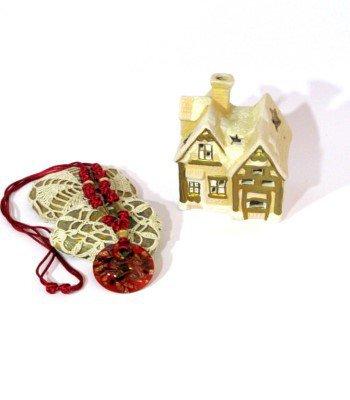 Collana maxi con nodi e pendente in vetro - collana con cordoncino rosso