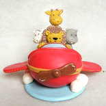 Cake topper Aereo con animaletti nascita battesimo compleanno