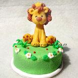 Cake topper con leoncino per nascita battesimo compleanno bimbo