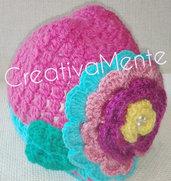 Cappello all'uncinetto bambina Multicolor Flower
