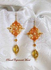Orecchini gialli al chiacchierino, cristalli in quarzo citrino, cristalli e perline