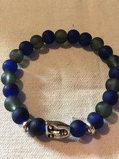 Braccialetto da uomo in opale blu e grigio e argento 995