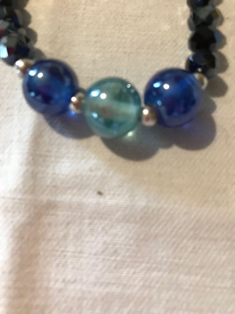 Braccialetto donna vetro di murano blu e azzurro