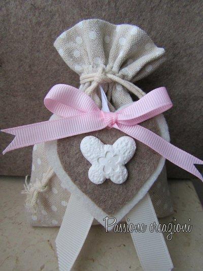 Bomboniera nascita sacchetto porta confetti