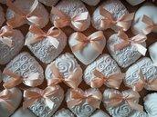 Gessetti - Cuori in polvere di ceramica con fiocchetto in raso