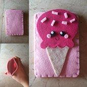 Portacellulare Pink Gelatino Kawaii Fucsia e Rosa // Feltro e Pannolenci // Fatto a mano ❤