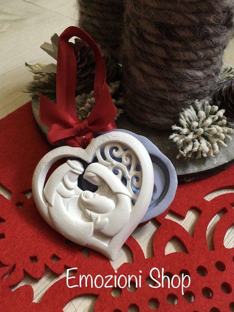 Stampo cuore con sacra famiglia