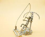 acqua pescatore scultura pescatore pescatore arte regalo per pescatore pescatore acciaio sport pesca pesce