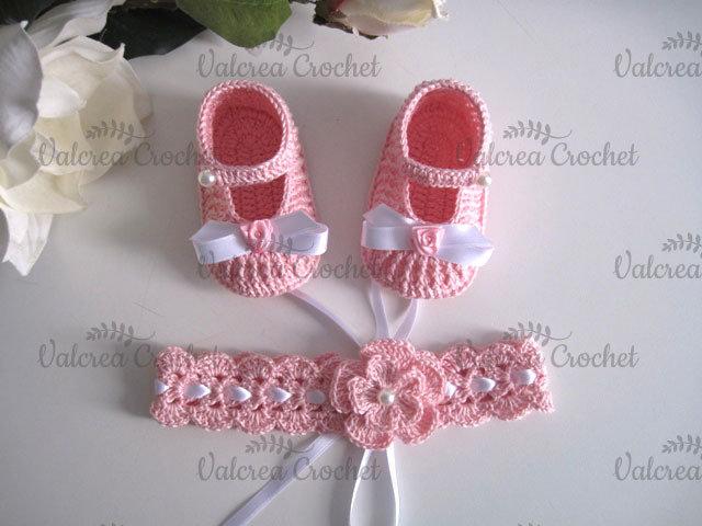 Set coordinato scarpine neonata fascetta capelli rosa cotone battesimo nascita cerimonia uncinetto
