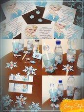 Set compleanno frozen party lecca lecca etichette acqua succo bibite allestimento party palette confettata caramellata