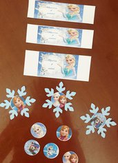 Etichette adesive personalizzate per bottichie acqua bibite succo in plastica e vetro frozen