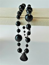 COLLIER IN ONICE NERA E ARGENTO
