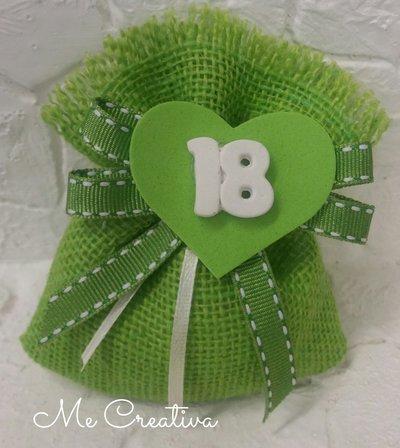 Sacchetto iuta verde 18 anni
