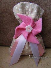 Bomboniera nascita sacchetto porta confetti e girandola in feltro