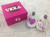 Scarpine Cuore Glitter Fuxia personalizzate con nome - Confezione personalizzata - Bimba Neonata 3/6 mesi