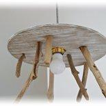 Lampadario RONDO' con legni di mare