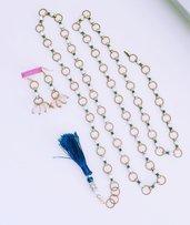 """Parure (cintura + orecchini) in perle, cristalli e ottone """"Lizzie 11"""""""