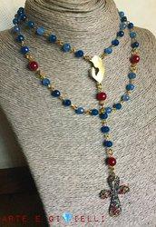 Collana rosario strass multicolor