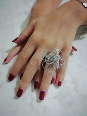Anello fiore acciaio donna bigiotteria  wire doni e bomboniere misshobby.com regalo