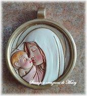 Stampo in gomma siliconica medaglia Madonna con Bambino