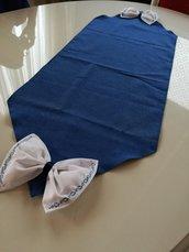 Runner da tavola stile shabby moderno fatto a mano blu e fiocchi