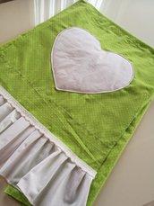 Copri lavatrice stile shabby  su misura fantasia pois verde mela