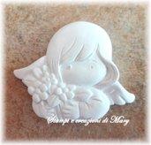 Stampo in gomma siliconica angelo cherubino con fiori