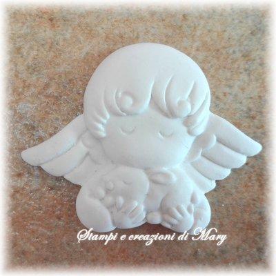Stampo in gomma siliconica angelo cherubino coniglietto
