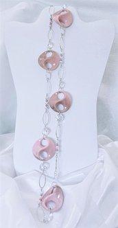 """Collana lunga in acciaio, perline e twist acrilici """"Rosa twist"""""""