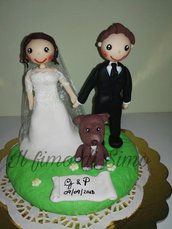 cake topper sposi matrimonio in pasta polimerica