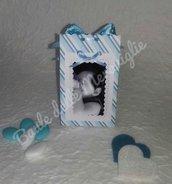 Bomboniera battesimo bimbo bimba scatolina porta foto cornice