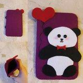 Portacellulare Panda con Palloncino // Feltro e Pannolenci // Fatto a mano ❤