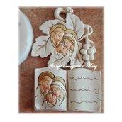 2 stampi foglia e libro  vangelo Sacra Famiglia in gomma siliconica
