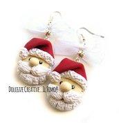 Natale in Dolcezze - Orecchini Babbo natale - in fimo e cernit con fiocco in merletto - miniature - idea regalo