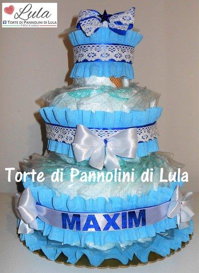 Torta Di Pannolini Pampers Maschio Idea Regalo Nascita