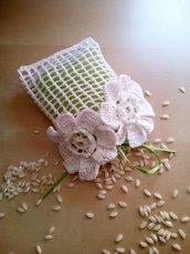 bomboniera a uncinetto  - confettata - sacchetto confetti segnaposto invitati nozze battesimo compleanno regalo invitati per cerimonia
