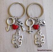 Coppia portachiavi puzzle serratura chiave
