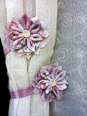 """COPPIA FERMA TENDE """" Fiore stoffa"""" Colore tonalità rosa"""