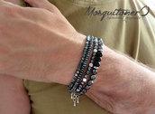 Bracciale da uomo in perle di ematite e acciaio,stile minimal,elegante, easy,semplice